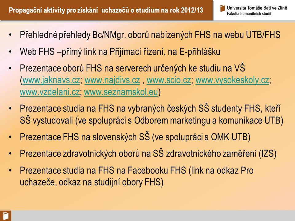Propagační aktivity pro získání uchazečů o studium na rok 2012/13 Přehledné přehledy Bc/NMgr. oborů nabízených FHS na webu UTB/FHS Web FHS –přímý link