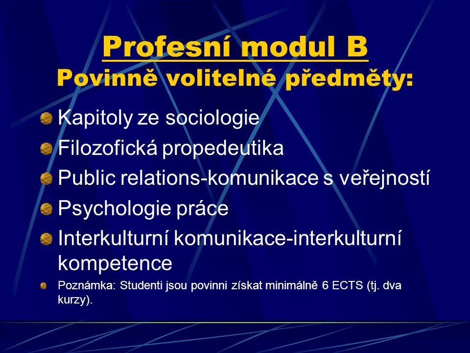 Profesní modul B Povinně volitelné předměty: Kapitoly ze sociologie Filozofická propedeutika Public relations-komunikace s veřejností Psychologie prác