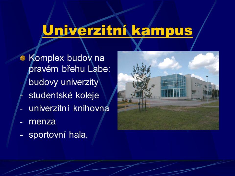Univerzitní kampus Komplex budov na pravém břehu Labe: - budovy univerzity -studentské koleje - univerzitní knihovna - menza - sportovní hala.