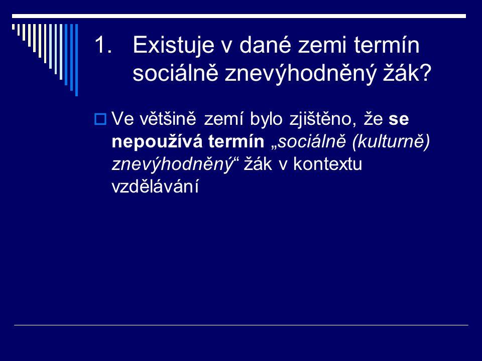 1.Existuje v dané zemi termín sociálně znevýhodněný žák.