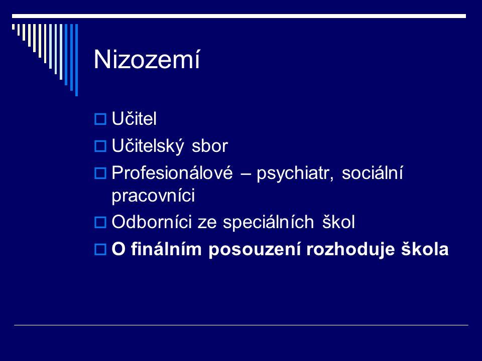 Nizozemí  Učitel  Učitelský sbor  Profesionálové – psychiatr, sociální pracovníci  Odborníci ze speciálních škol  O finálním posouzení rozhoduje škola