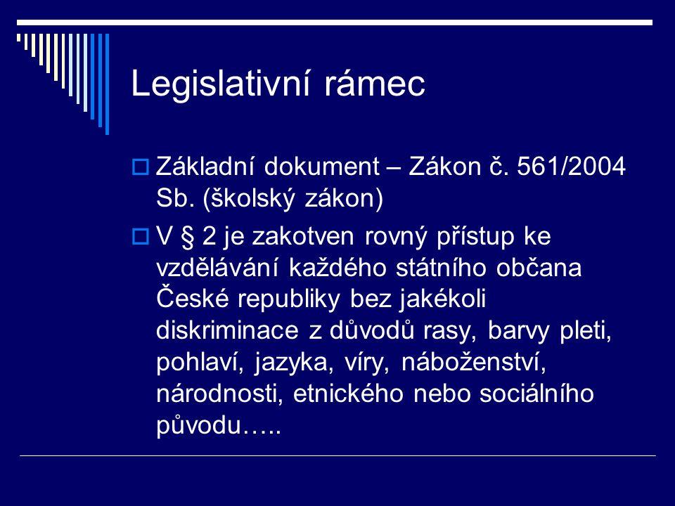 Legislativní rámec  Základní dokument – Zákon č. 561/2004 Sb.