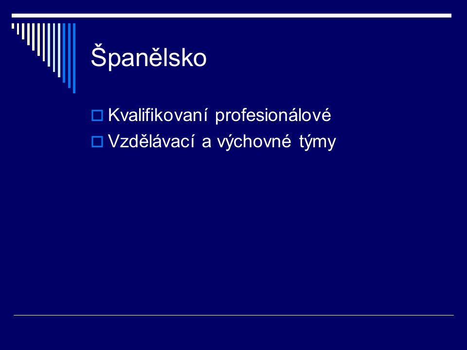 Španělsko  Kvalifikovaní profesionálové  Vzdělávací a výchovné týmy