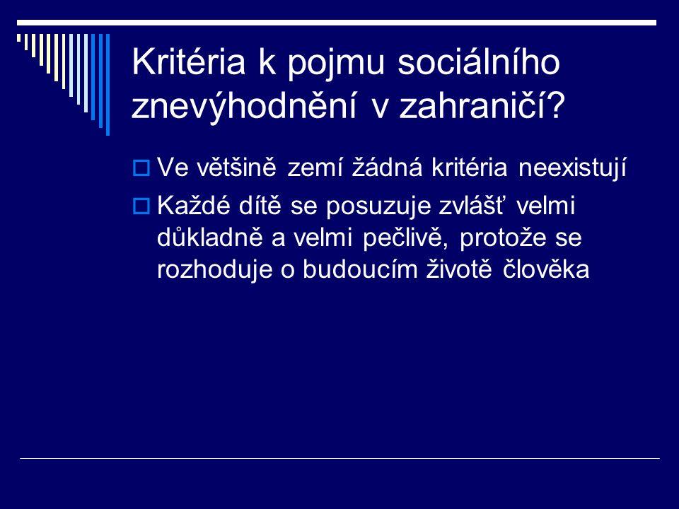 Kritéria k pojmu sociálního znevýhodnění v zahraničí.