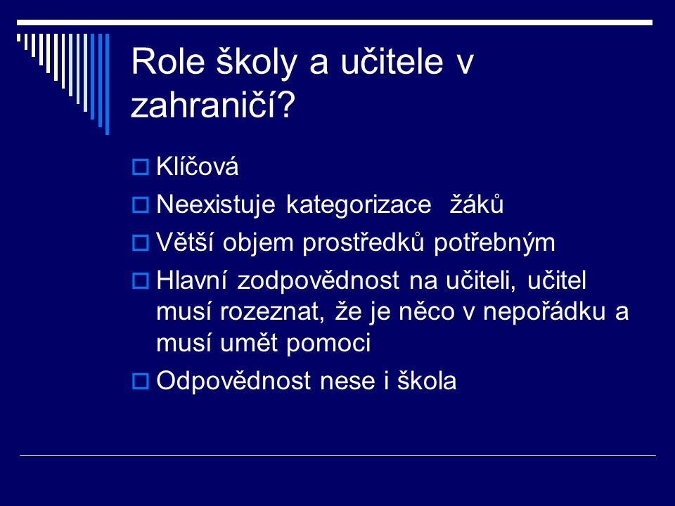 Role školy a učitele v zahraničí.