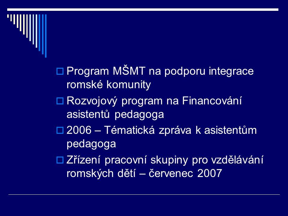  Program MŠMT na podporu integrace romské komunity  Rozvojový program na Financování asistentů pedagoga  2006 – Tématická zpráva k asistentům pedagoga  Zřízení pracovní skupiny pro vzdělávání romských dětí – červenec 2007