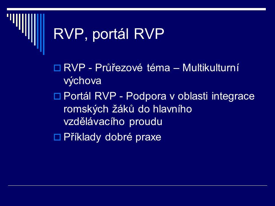 RVP, portál RVP  RVP - Průřezové téma – Multikulturní výchova  Portál RVP - Podpora v oblasti integrace romských žáků do hlavního vzdělávacího proudu  Příklady dobré praxe