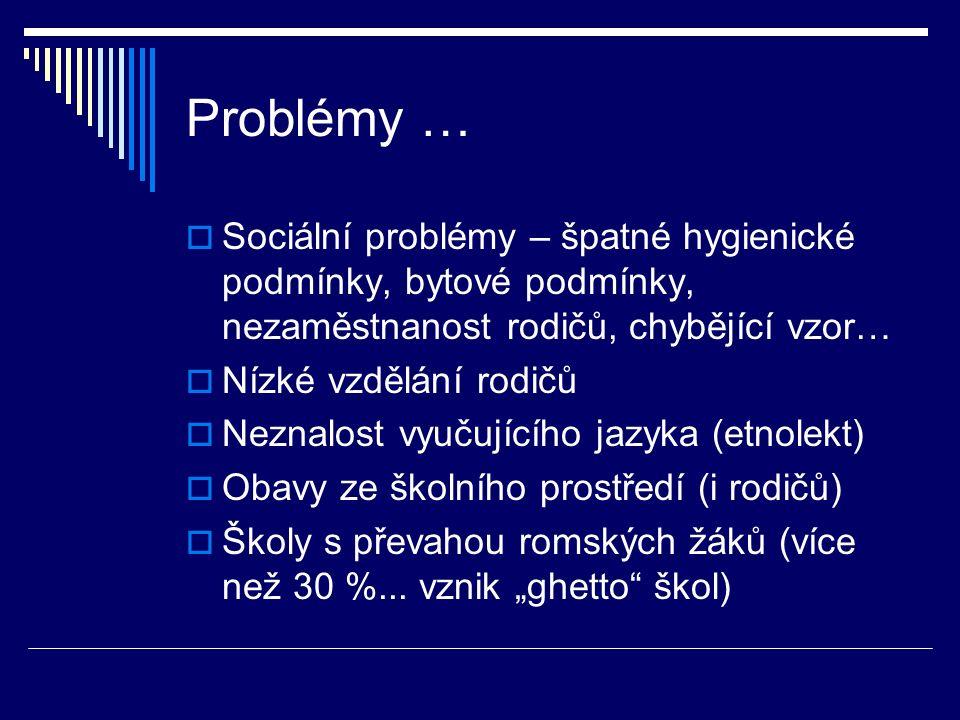 Problémy …  Sociální problémy – špatné hygienické podmínky, bytové podmínky, nezaměstnanost rodičů, chybějící vzor…  Nízké vzdělání rodičů  Neznalost vyučujícího jazyka (etnolekt)  Obavy ze školního prostředí (i rodičů)  Školy s převahou romských žáků (více než 30 %...