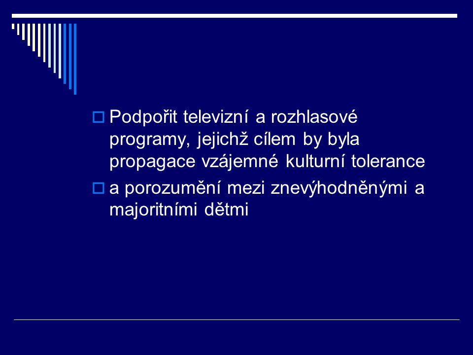  Podpořit televizní a rozhlasové programy, jejichž cílem by byla propagace vzájemné kulturní tolerance  a porozumění mezi znevýhodněnými a majoritními dětmi