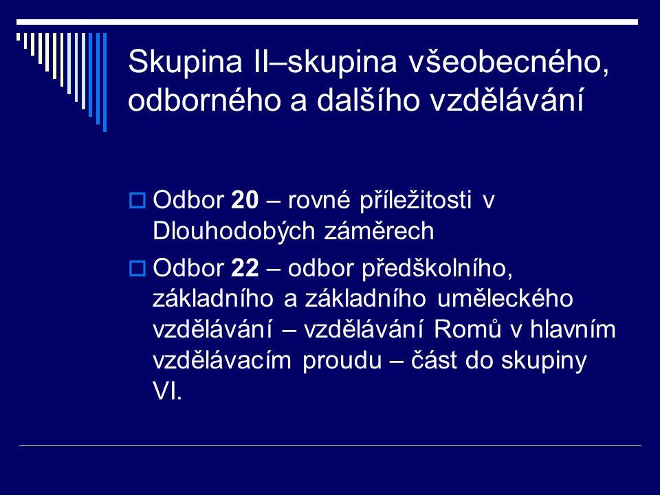  Odbor 23 – odbor středního a vyššího odborného vzdělávání (vzdělávání Romů na SŠ a VOŠ)  Odbor 24 odbor speciálního vzdělávání a institucionální výchovy – odbor zabezpečující vzdělávání žáků se speciálními vzdělávacími potřebami (i Romů), zabýval se rovněž transformací bývalých zvláštních škol na základní školy – celý odbor přechází do skupiny VI.