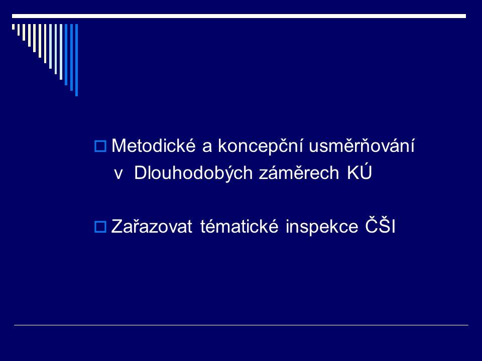  Metodické a koncepční usměrňování v Dlouhodobých záměrech KÚ  Zařazovat tématické inspekce ČŠI