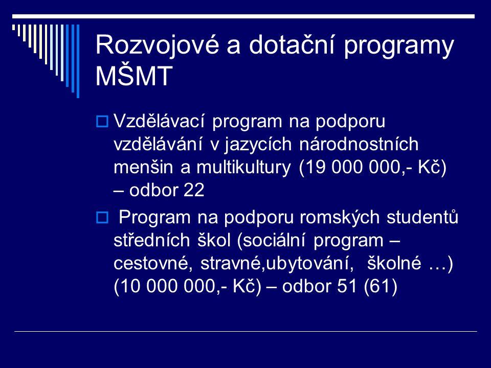Rozvojové a dotační programy MŠMT  Vzdělávací program na podporu vzdělávání v jazycích národnostních menšin a multikultury (19 000 000,- Kč) – odbor 22  Program na podporu romských studentů středních škol (sociální program – cestovné, stravné,ubytování, školné …) (10 000 000,- Kč) – odbor 51 (61)