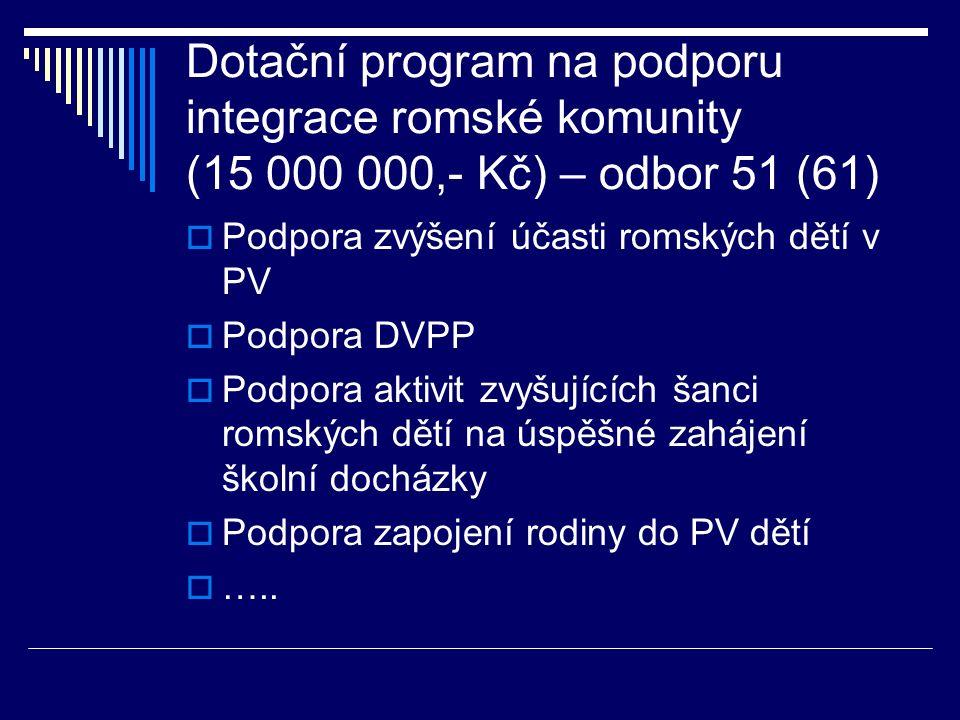 Dotační program na podporu integrace romské komunity (15 000 000,- Kč) – odbor 51 (61)  Podpora zvýšení účasti romských dětí v PV  Podpora DVPP  Podpora aktivit zvyšujících šanci romských dětí na úspěšné zahájení školní docházky  Podpora zapojení rodiny do PV dětí  …..