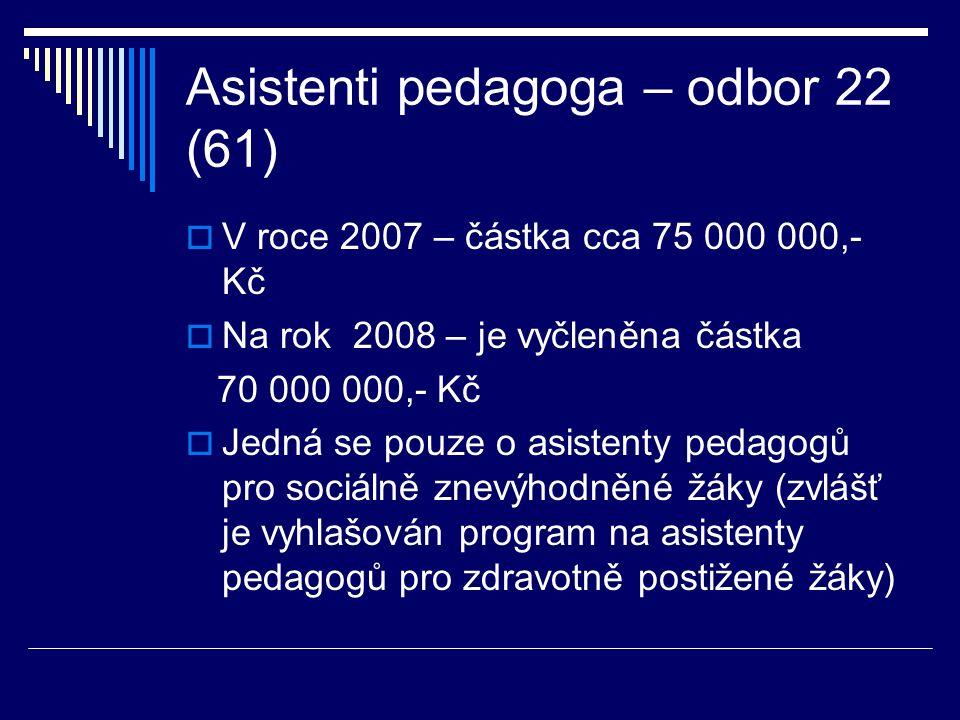 Asistenti pedagoga – odbor 22 (61)  V roce 2007 – částka cca 75 000 000,- Kč  Na rok 2008 – je vyčleněna částka 70 000 000,- Kč  Jedná se pouze o asistenty pedagogů pro sociálně znevýhodněné žáky (zvlášť je vyhlašován program na asistenty pedagogů pro zdravotně postižené žáky)