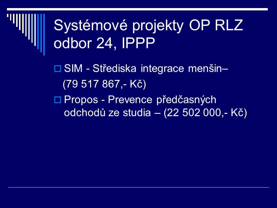 Systémové projekty OP RLZ odbor 24, IPPP  SIM - Střediska integrace menšin– (79 517 867,- Kč)  Propos - Prevence předčasných odchodů ze studia – (22 502 000,- Kč)