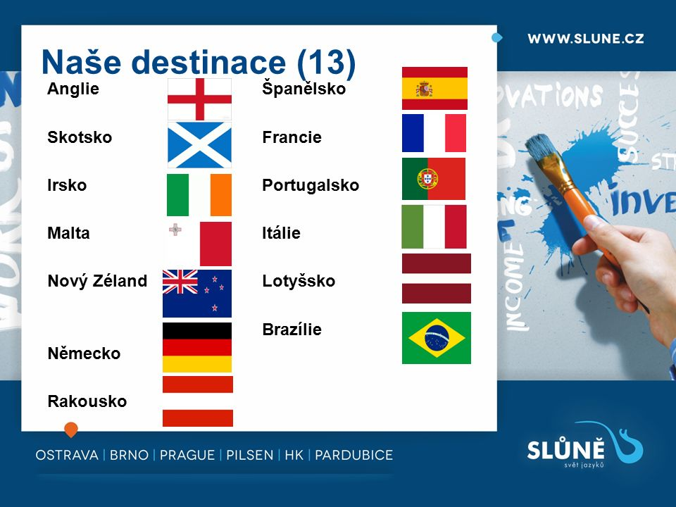 Naše destinace (13) Anglie Španělsko SkotskoFrancie IrskoPortugalsko MaltaItálie Nový ZélandLotyšsko Brazílie Německo Rakousko