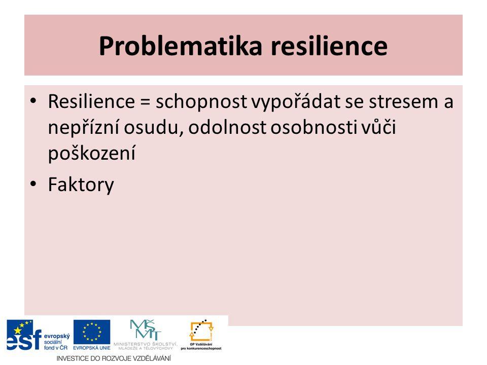 Problematika resilience Resilience = schopnost vypořádat se stresem a nepřízní osudu, odolnost osobnosti vůči poškození Faktory