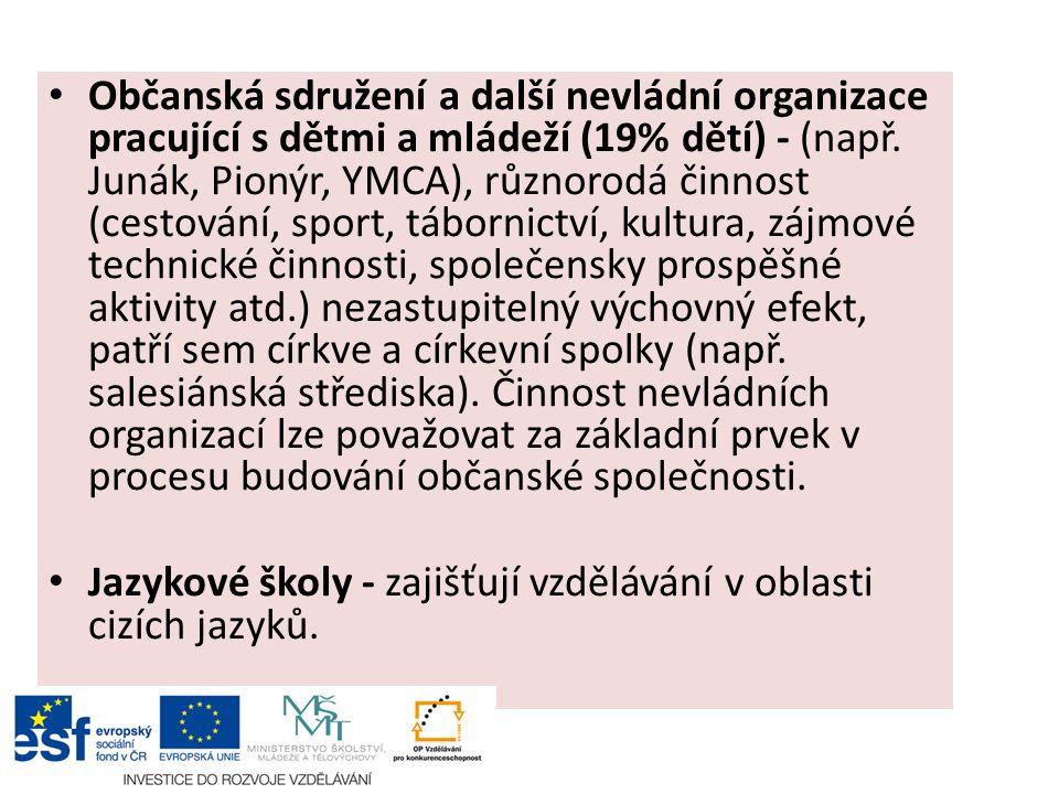 Občanská sdružení a další nevládní organizace pracující s dětmi a mládeží (19% dětí) - (např.