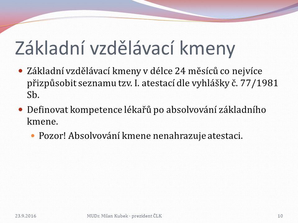 Základní vzdělávací kmeny Základní vzdělávací kmeny v délce 24 měsíců co nejvíce přizpůsobit seznamu tzv. I. atestací dle vyhlášky č. 77/1981 Sb. Defi