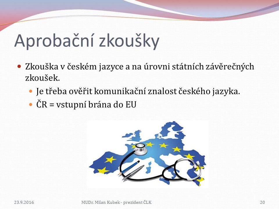 Aprobační zkoušky Zkouška v českém jazyce a na úrovni státních závěrečných zkoušek.