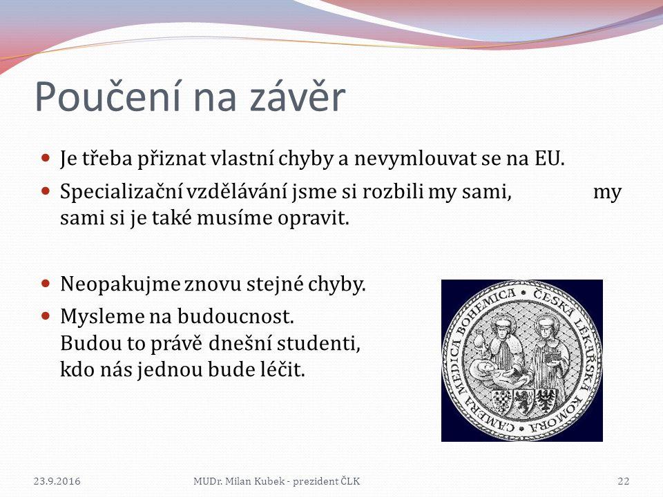 Poučení na závěr Je třeba přiznat vlastní chyby a nevymlouvat se na EU. Specializační vzdělávání jsme si rozbili my sami, my sami si je také musíme op