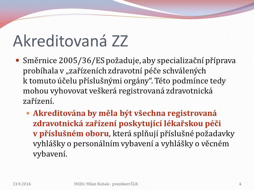 """Akreditovaná ZZ Směrnice 2005/36/ES požaduje, aby specializační příprava probíhala v """"zařízeních zdravotní péče schválených k tomuto účelu příslušnými orgány ."""
