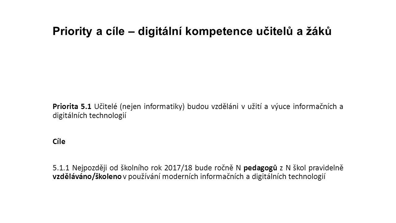 Priority a cíle – digitální kompetence učitelů a žáků Priorita 5.1 Učitelé (nejen informatiky) budou vzděláni v užití a výuce informačních a digitální