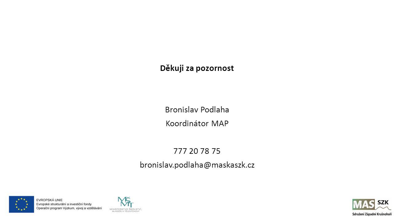 Děkuji za pozornost Bronislav Podlaha Koordinátor MAP 777 20 78 75 bronislav.podlaha@maskaszk.cz