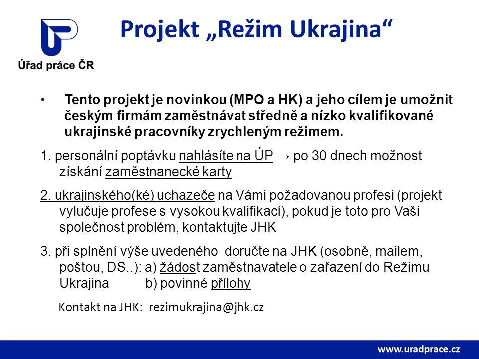 """Projekt """"Režim Ukrajina"""" Tento projekt je novinkou (MPO a HK) a jeho cílem je umožnit českým firmám zaměstnávat středně a nízko kvalifikované ukrajins"""