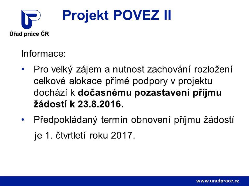 Projekt POVEZ II Informace: Pro velký zájem a nutnost zachování rozložení celkové alokace přímé podpory v projektu dochází k dočasnému pozastavení pří