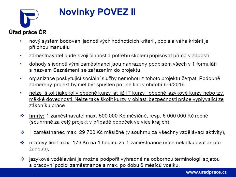 Novinky POVEZ II nový systém bodování jednotlivých hodnotících kritérií, popis a váha kritérií je přílohou manuálu zaměstnavatel bude svoji činnost a