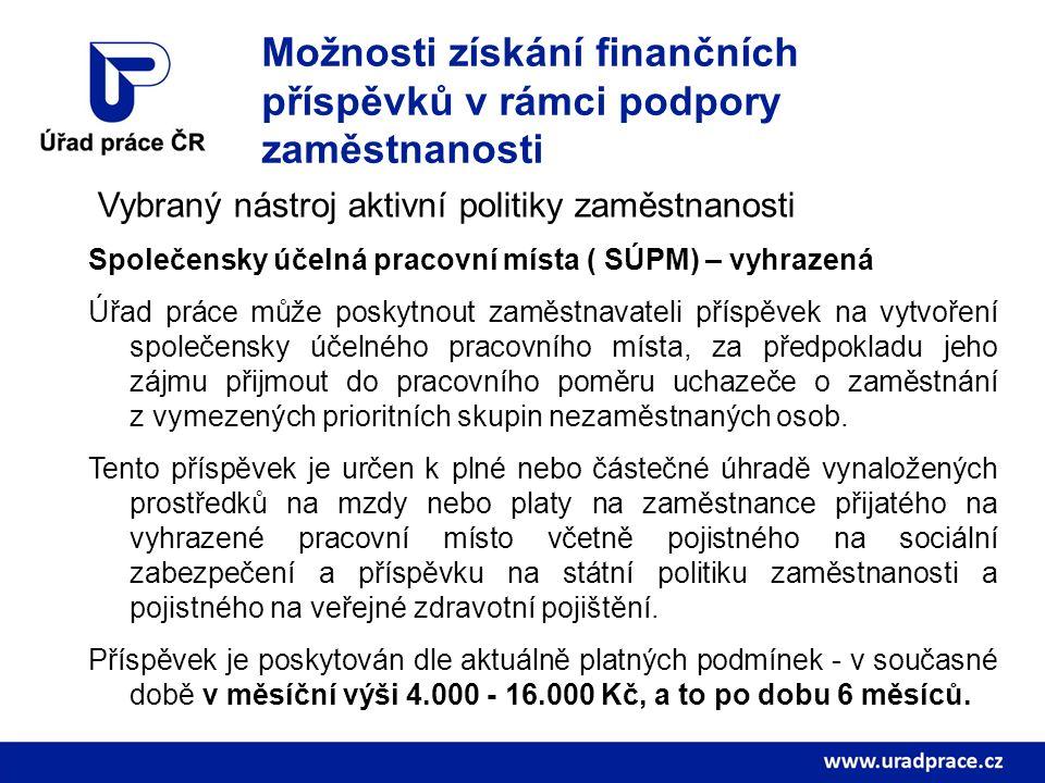 Možnosti získání finančních příspěvků v rámci podpory zaměstnanosti Vybraný nástroj aktivní politiky zaměstnanosti Společensky účelná pracovní místa (