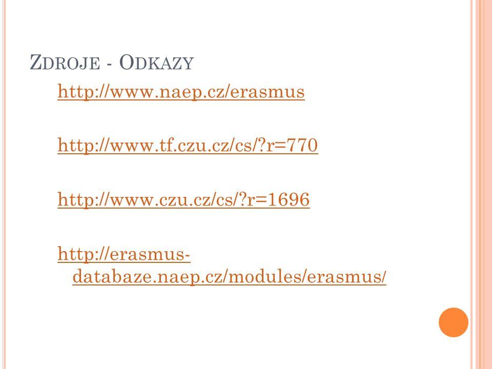 Z DROJE - O DKAZY http://www.naep.cz/erasmus http://www.tf.czu.cz/cs/?r=770 http://www.czu.cz/cs/?r=1696 http://erasmus- databaze.naep.cz/modules/erasmus /
