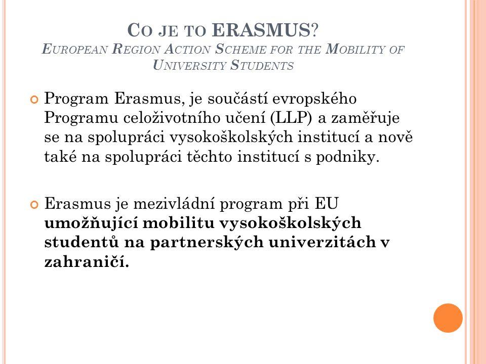 C O JE TO ERASMUS ? E UROPEAN R EGION A CTION S CHEME FOR THE M OBILITY OF U NIVERSITY S TUDENTS Program Erasmus, je součástí evropského Programu celo