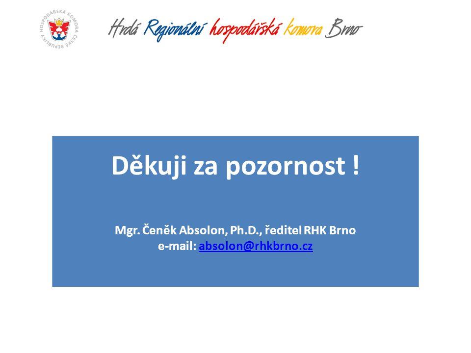Děkuji za pozornost ! Mgr. Čeněk Absolon, Ph.D., ředitel RHK Brno e-mail: absolon@rhkbrno.czabsolon@rhkbrno.cz