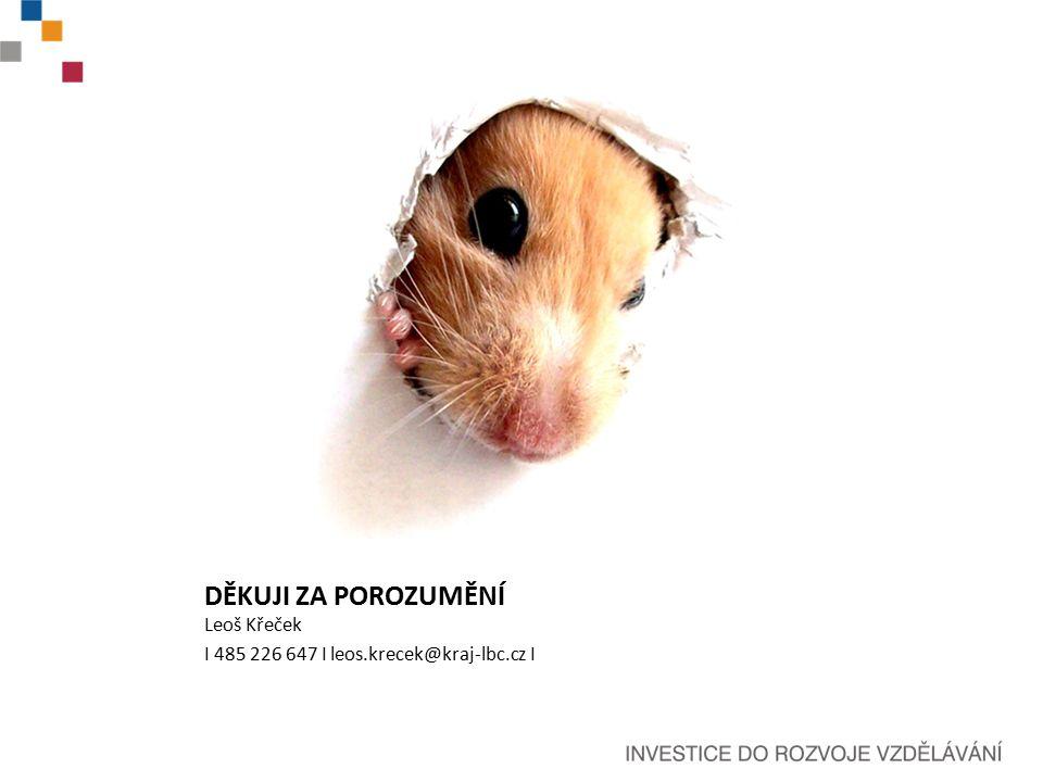 DĚKUJI ZA POROZUMĚNÍ Leoš Křeček I 485 226 647 I leos.krecek@kraj-lbc.cz I
