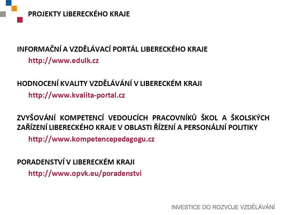 INFORMAČNÍ A VZDĚLÁVACÍ PORTÁL LIBERECKÉHO KRAJE http://www.edulk.cz HODNOCENÍ KVALITY VZDĚLÁVÁNÍ V LIBERECKÉM KRAJI http://www.kvalita-portal.cz ZVYŠOVÁNÍ KOMPETENCÍ VEDOUCÍCH PRACOVNÍKŮ ŠKOL A ŠKOLSKÝCH ZAŘÍZENÍ LIBERECKÉHO KRAJE V OBLASTI ŘÍZENÍ A PERSONÁLNÍ POLITIKY http://www.kompetencepedagogu.cz PORADENSTVÍ V LIBERECKÉM KRAJI http://www.opvk.eu/poradenstvi PROJEKTY LIBERECKÉHO KRAJE