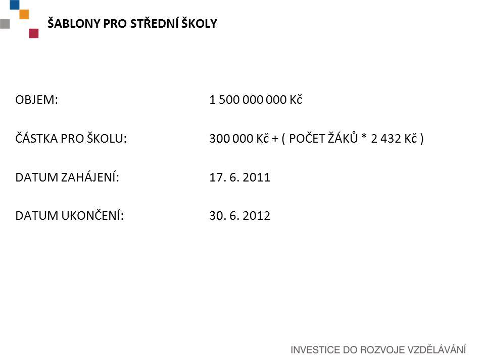 ŠABLONY PRO STŘEDNÍ ŠKOLY OBJEM: 1 500 000 000 Kč ČÁSTKA PRO ŠKOLU:300 000 Kč + ( POČET ŽÁKŮ * 2 432 Kč ) DATUM ZAHÁJENÍ: 17.