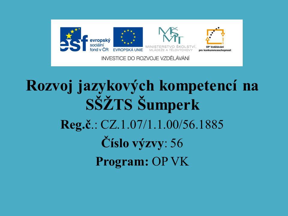 Rozvoj jazykových kompetencí na SŠŽTS Šumperk Reg.č.: CZ.1.07/1.1.00/56.1885 Číslo výzvy: 56 Program: OP VK