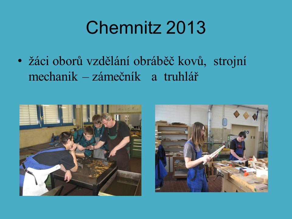 Chemnitz 2013 žáci oborů vzdělání obráběč kovů, strojní mechanik – zámečník a truhlář