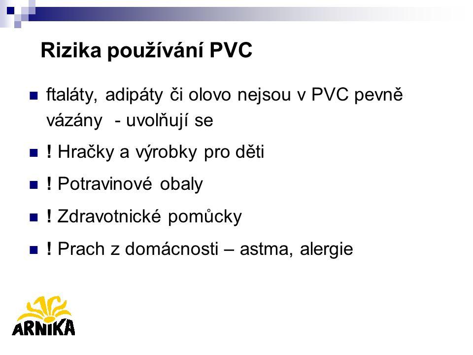 Rizika používání PVC ftaláty, adipáty či olovo nejsou v PVC pevně vázány - uvolňují se ! Hračky a výrobky pro děti ! Potravinové obaly ! Zdravotnické
