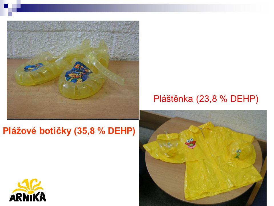 Pláštěnka (23,8 % DEHP) Plážové botičky (35,8 % DEHP)
