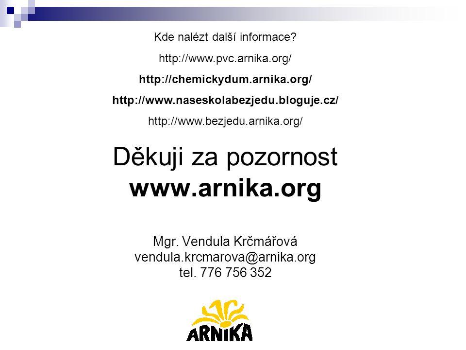 Děkuji za pozornost www.arnika.org Mgr. Vendula Krčmářová vendula.krcmarova@arnika.org tel. 776 756 352 Kde nalézt další informace? http://www.pvc.arn
