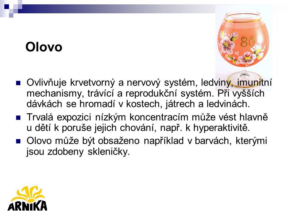 Olovo Ovlivňuje krvetvorný a nervový systém, ledviny, imunitní mechanismy, trávící a reprodukční systém. Při vyšších dávkách se hromadí v kostech, ját