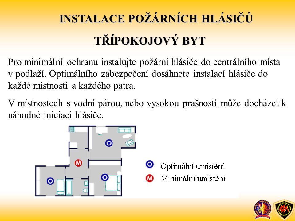 Pro minimální ochranu instalujte požární hlásiče do centrálního místa v podlaží. Optimálního zabezpečení dosáhnete instalací hlásiče do každé místnost