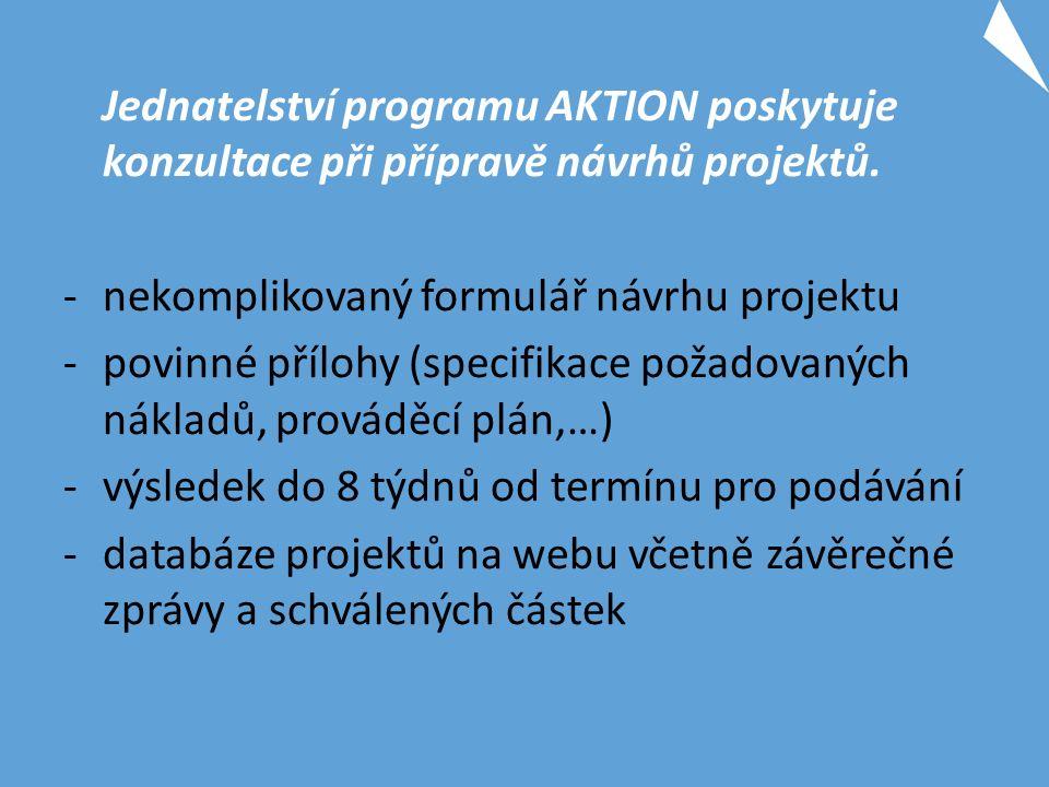 Jednatelství programu AKTION poskytuje konzultace při přípravě návrhů projektů.