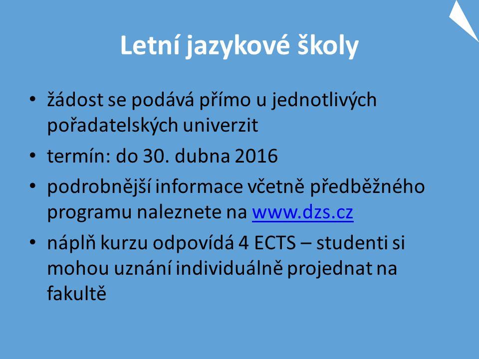 Letní jazykové školy žádost se podává přímo u jednotlivých pořadatelských univerzit termín: do 30.