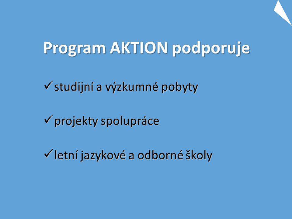 Program AKTION podporuje studijní a výzkumné pobyty studijní a výzkumné pobyty projekty spolupráce projekty spolupráce letní jazykové a odborné školy letní jazykové a odborné školy