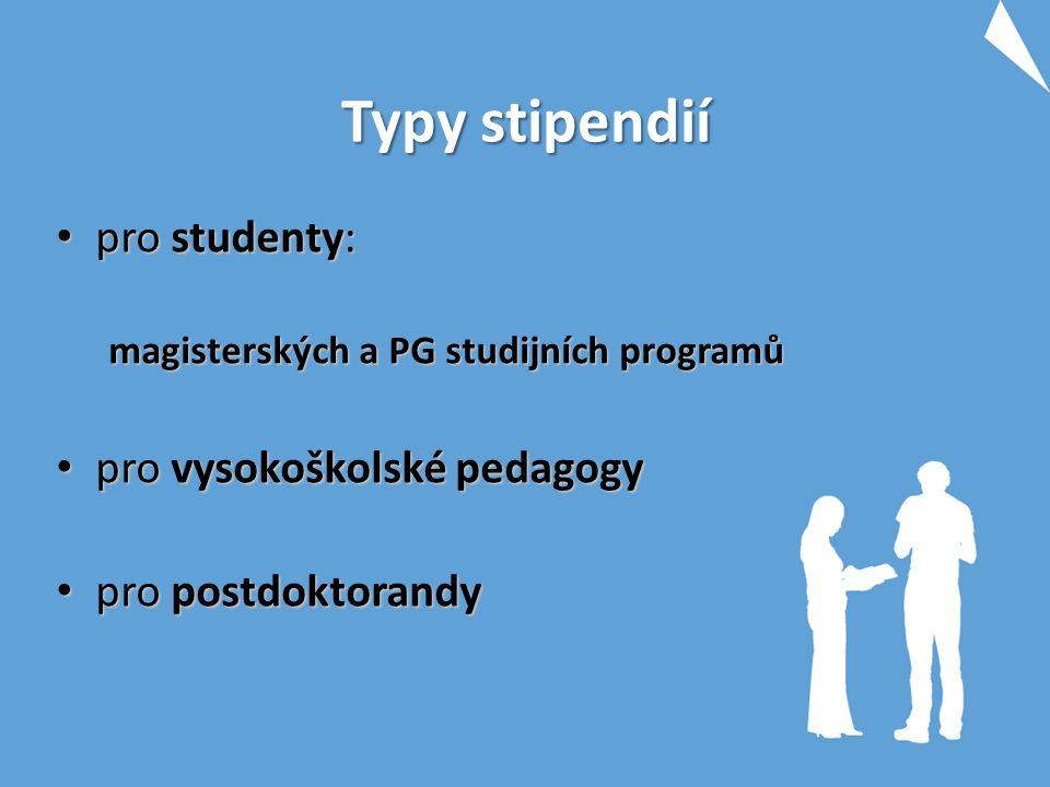 Typy stipendií pro studenty: pro studenty: magisterských a PG studijních programů pro vysokoškolské pedagogy pro vysokoškolské pedagogy pro postdoktorandy pro postdoktorandy
