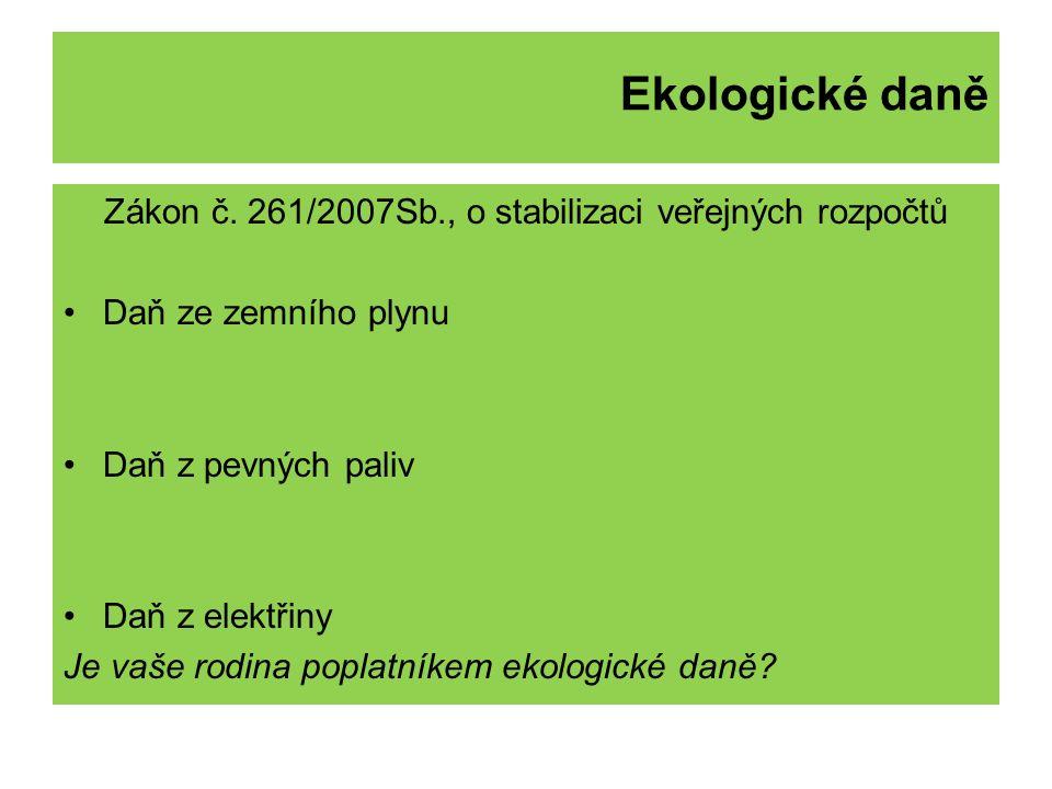 Ekologické daně Zákon č.